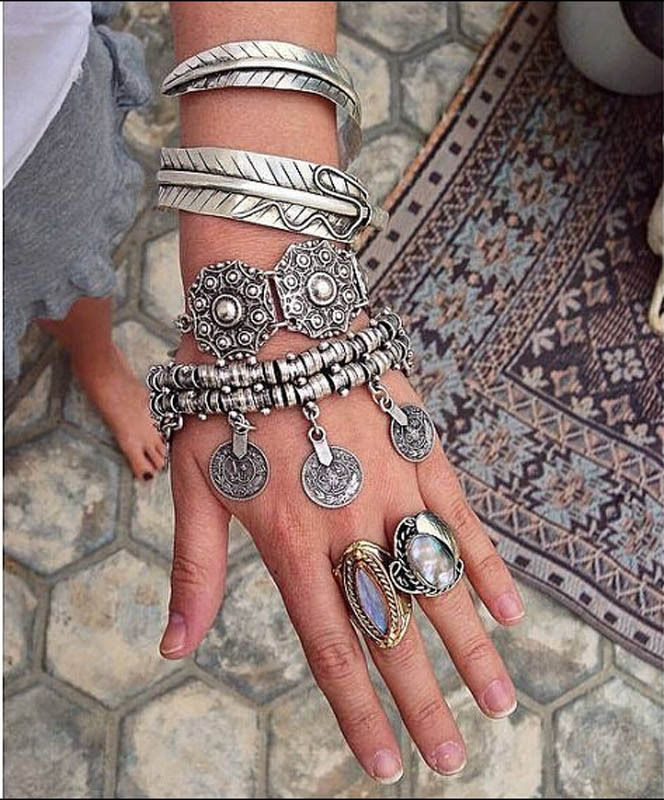 Popular Punk Thick Bohemian Moon Child Turkish Silver Antalya Bracelet | Just US $15.40