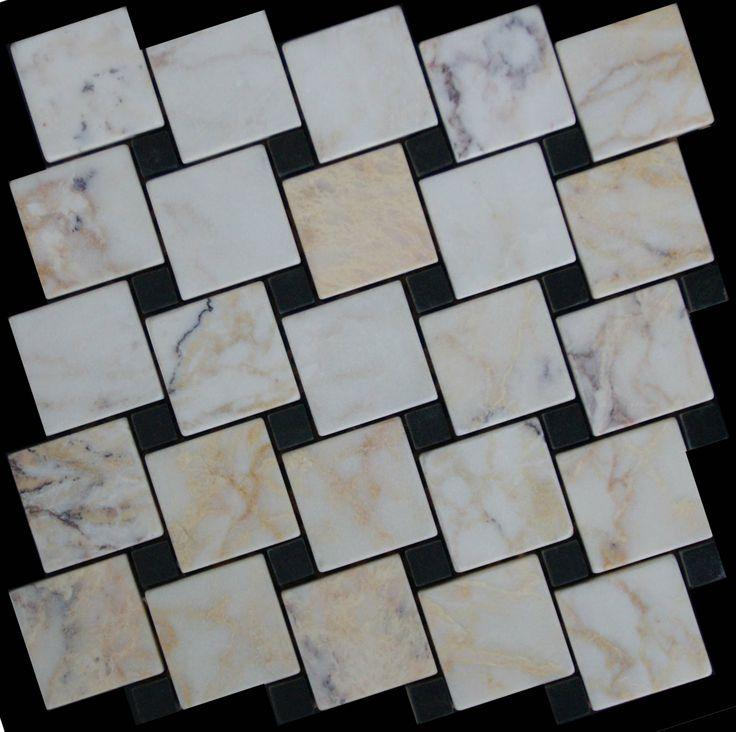 Mozaika marmurowa -  Kolekcja: Tetra 5015 Wave; Kod: TW501510; Wykończenie: ANTICO; Materiał: Skyros Light, Macedonian Black; Wym. Kostki: 5,0x5,0 cm, 1,5x1,5 cm; Wym. Plastra:  28,7x28,7 cm