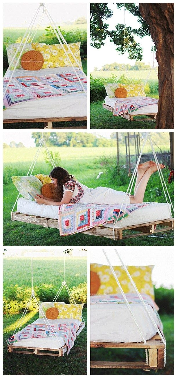 Do it Yourself Pallet Projects - DIY Pallet Swing Bed Woodworking Tutorial via The Merry Thought