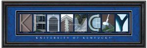 Prints Charming Letter Art Framed Print, U of Kentucky-Kentucky, Bold Color Border by Prints Charming. $49.99. Officially licensed product. University of Kentucky Campus Letter Art is the perfect gift for the graduate or undergrad. The name of the college or university is spelled out in a creative and meaningful way. Assembled and printed in the USA. Dimensions measure 24 by 8 by 1-inch. University of Kentucky Campus Letter Art is the perfect gift for the graduat...