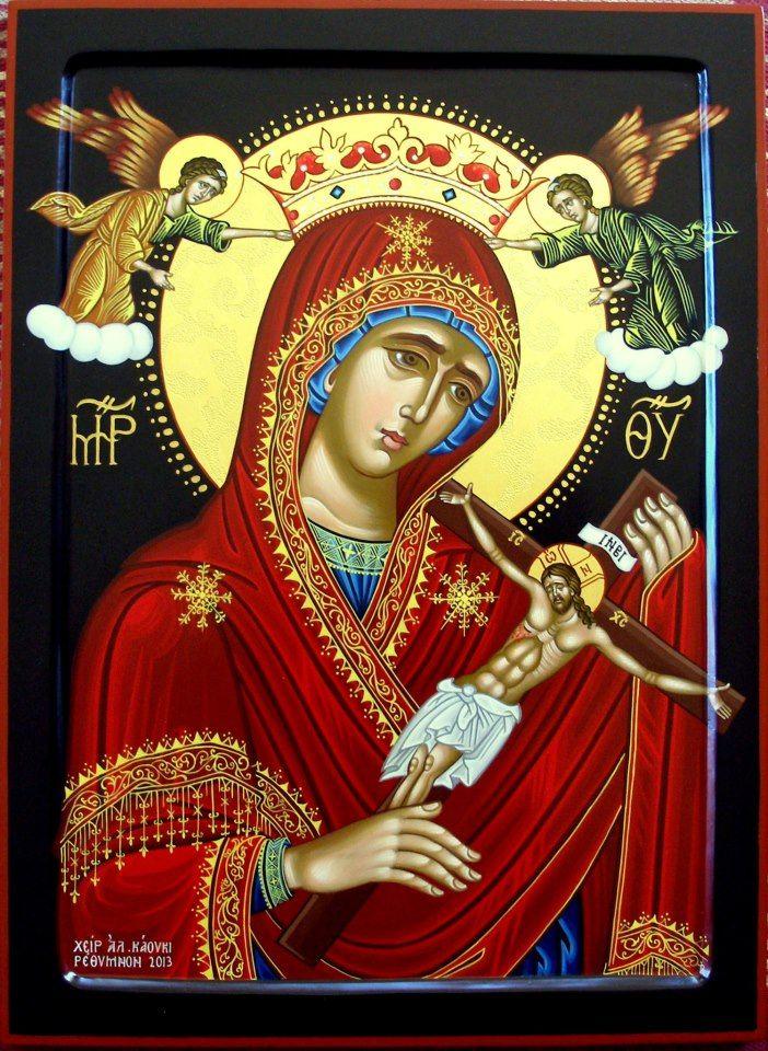 Αγιογράφος Αλεξάνδρα Καούκι Η Παναγία του Χάρου. Διάσταση 50 Χ 40 εκ. Η εικόνα βρίσκεται στην Ρωσία από τον Οκτώβριο του 2013.