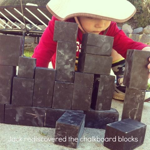 chalkboard blocks  @William Garrison cut me some scrap and I'll paint them for outside!