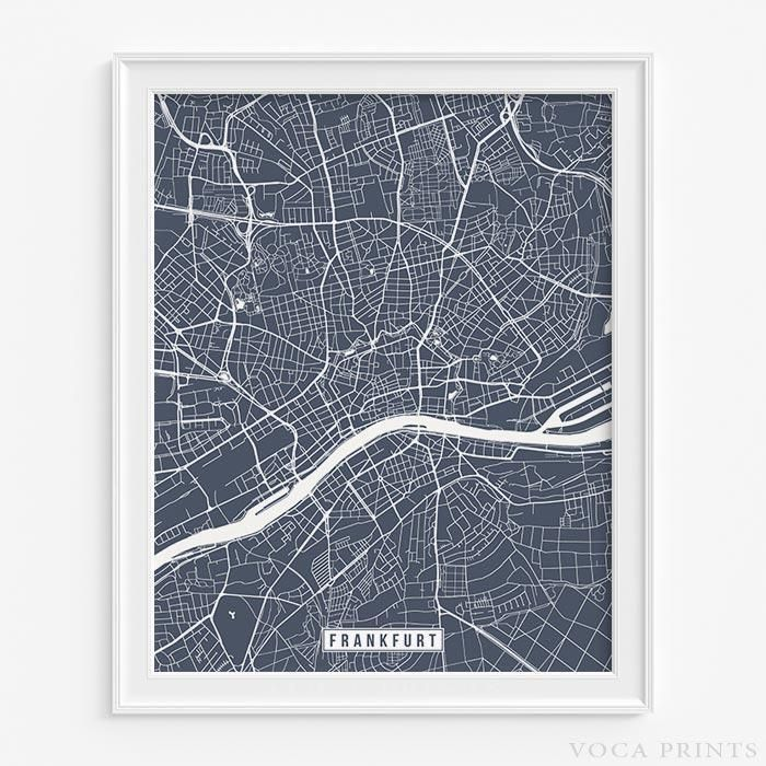 Map Germany Netherlands%0A FRANKFURT  GERMANY Street Map Wall Art Poster  Starting at       with     color choices