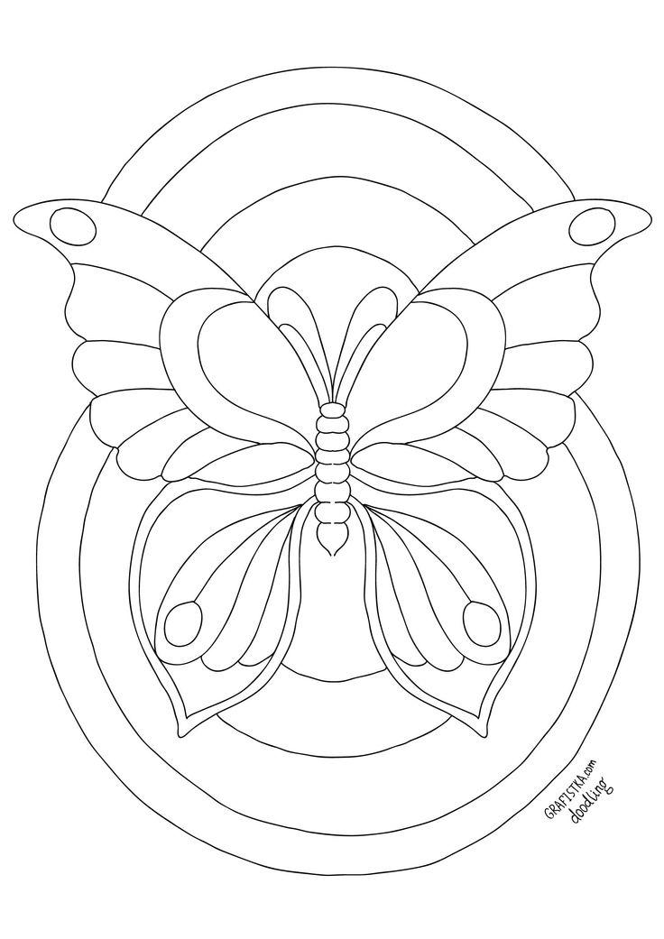 Скачать раскраску для дудлинга 13, бабочка | Раскраски ...