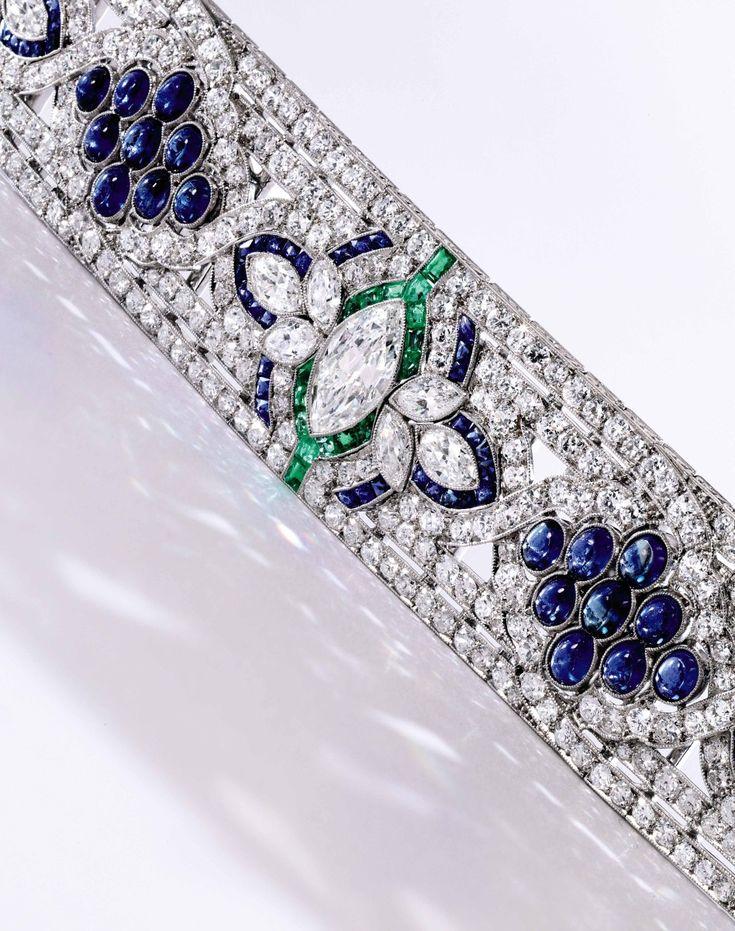 Platinum, Diamond, Sapphire and Emerald Bracelet, Oscar Heyman & Brothers, circa...
