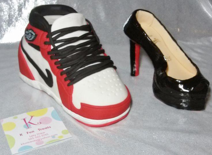 Red, Black \u0026amp; White Jordan Tennis Shoe \u0026amp; Black High Heel Red Bottom ...