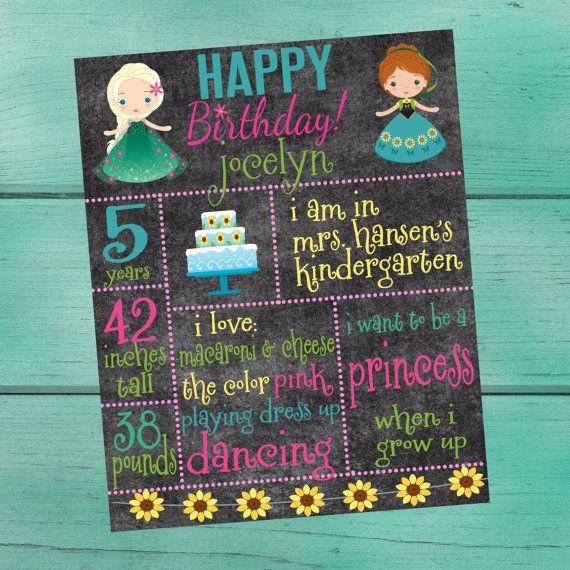 Frozen Fever Customized Chalkboard/Whiteboard by padicakesparty