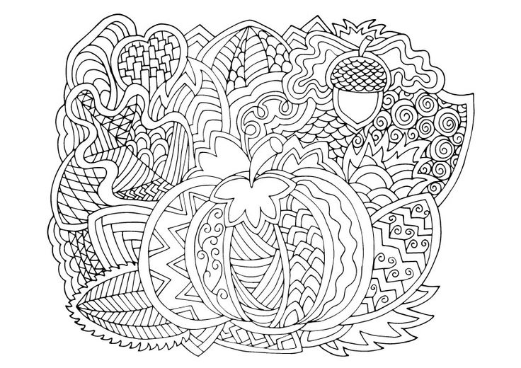 Pumpkin and autum, coloring page.