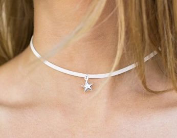 Lia & Co Thin White Leather Choker Star   Beginning Boutique