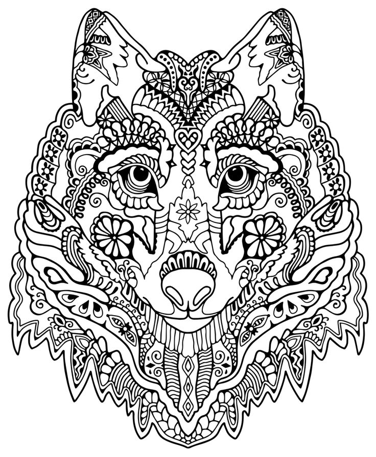 awesome wolf from awesome animals colouring for adultsadult