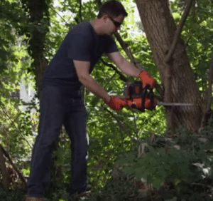 Battery powered chainsaws are intended for low demand jobs. Click here for product reviews http://powertoolsninja.com/black-decker-lcs1240-battery-powered-chainsaw-review/  