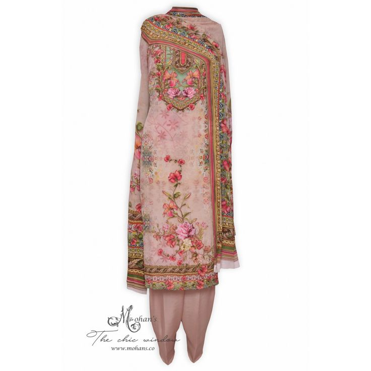 Elegant printed unstitched suit accentuated with nalki work-Mohan's  the chic window