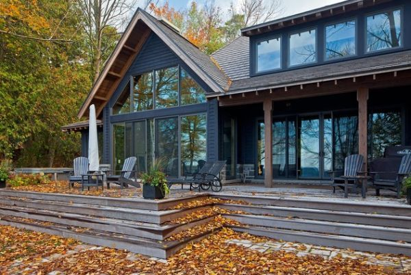 Deck....The colors used on this house give it a rustic appearance and the fall colors complement it