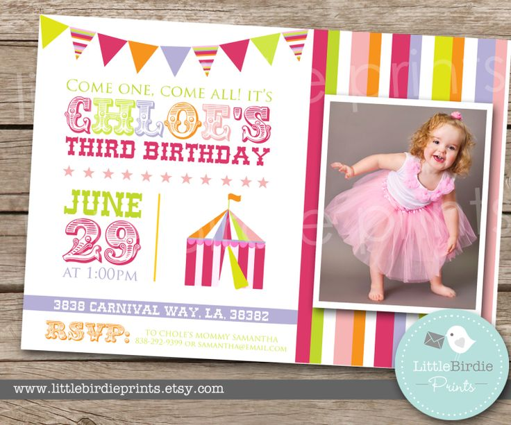 CARNIVAL or CIRCUS PARTY Girl Birthday by littlebirdieprints, $15.00