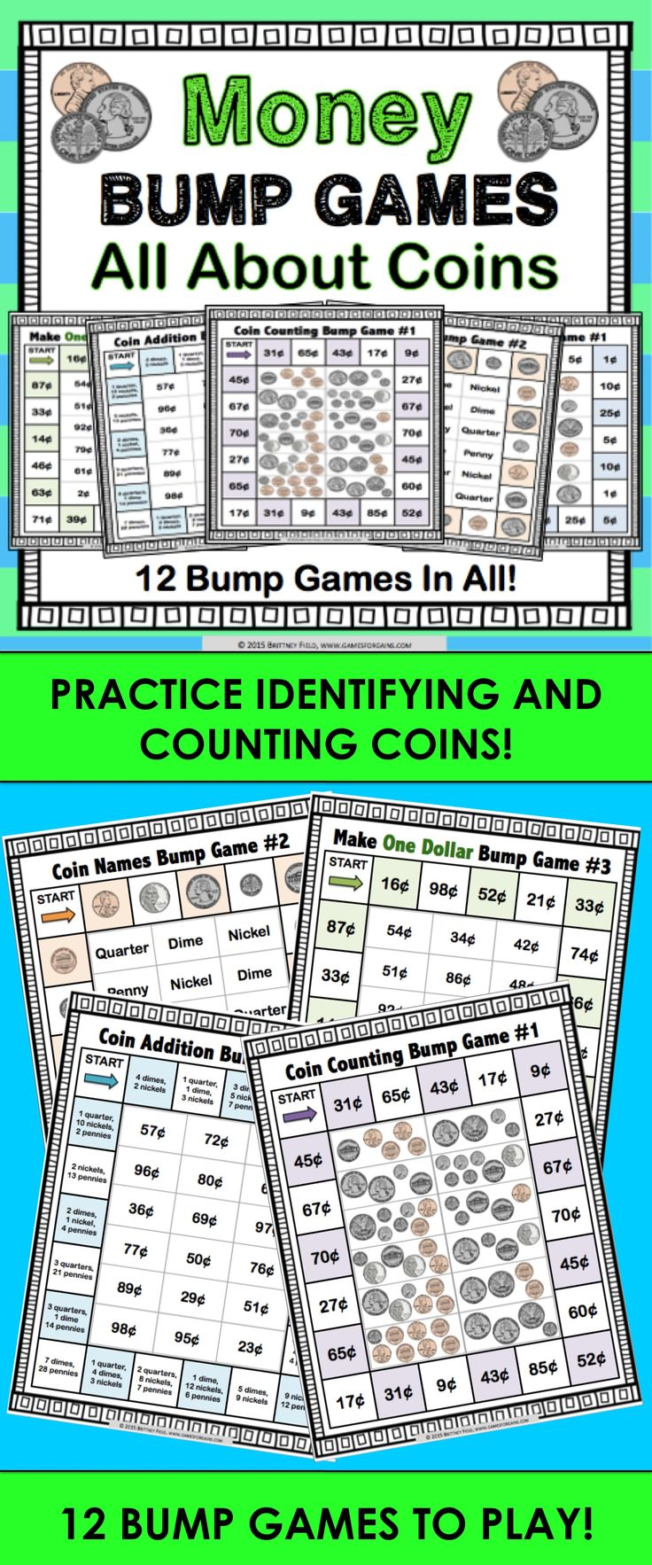Money - All About Coins Bump Games contains 12 different money games to help students practice naming coins, identifying coin values, counting coins, and adding coins. These money bump games are so simple to use, and take a minimal amount of prep. Simply print out the game sheet, get 2 dice and 20 counters, and you'll be ready to go!