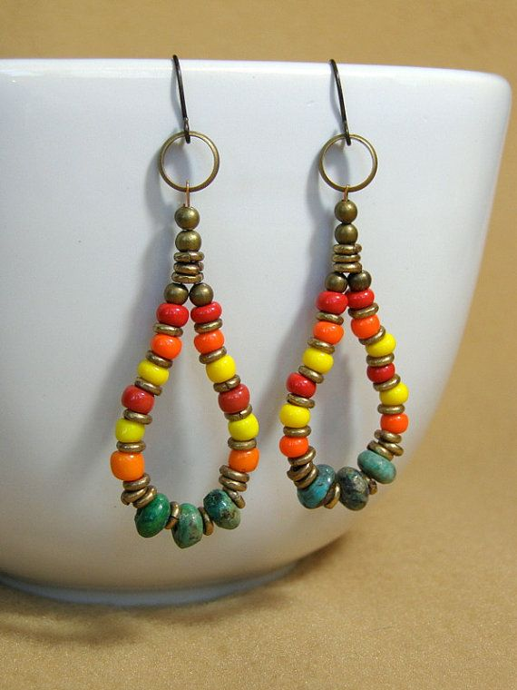 Turquoise Earrings Hoop Tribal Native Southwest Bohemian Cows Closet Womens