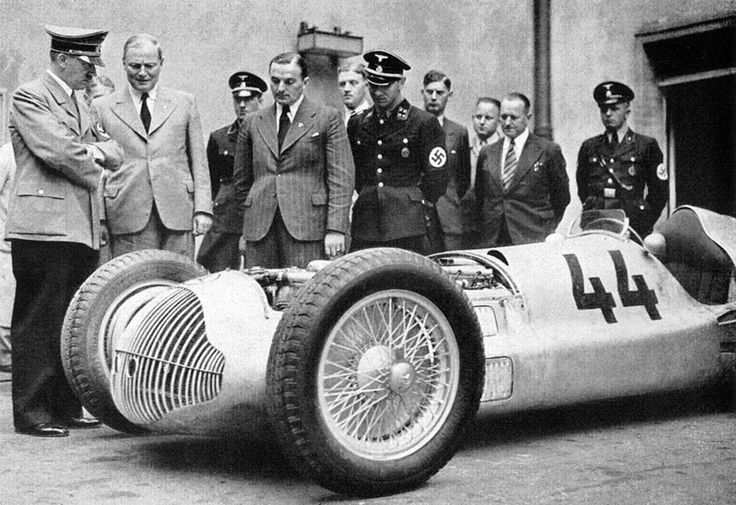 Hitler inspecting the Mercedes-Benz W154 Grand Prix racing car, 1930s.