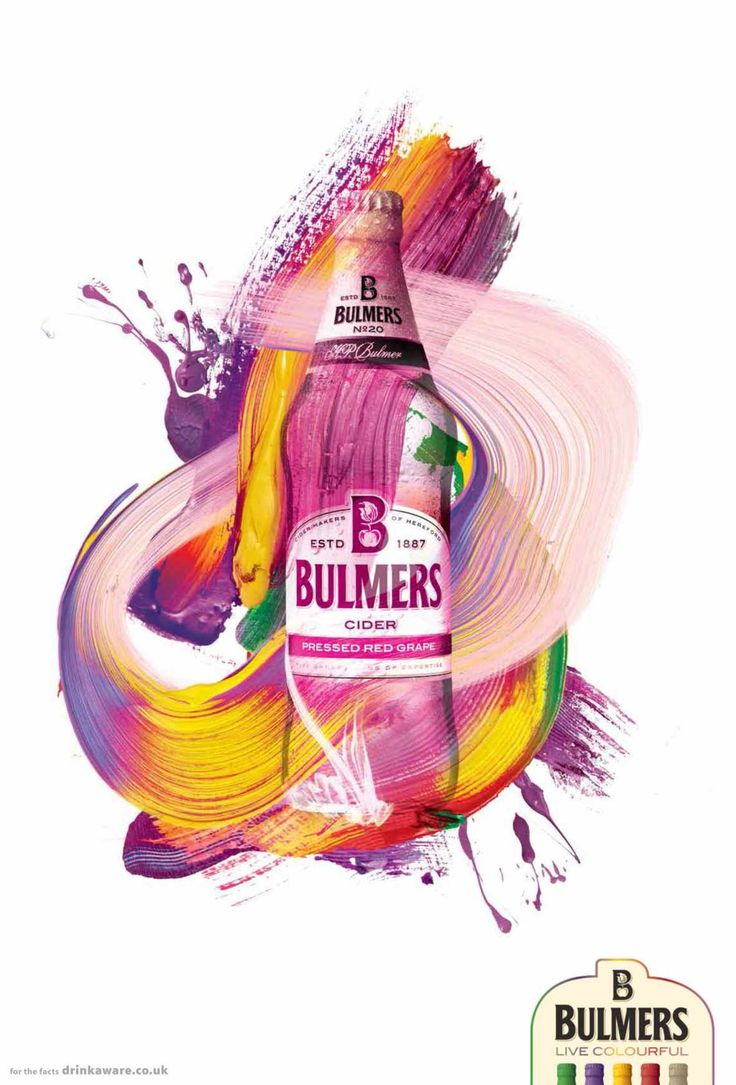 Bulmers: Live colourful, 2  A very vibrant and eye catching visual. Would stop me in my tracks to look at it or even notice it from a far.