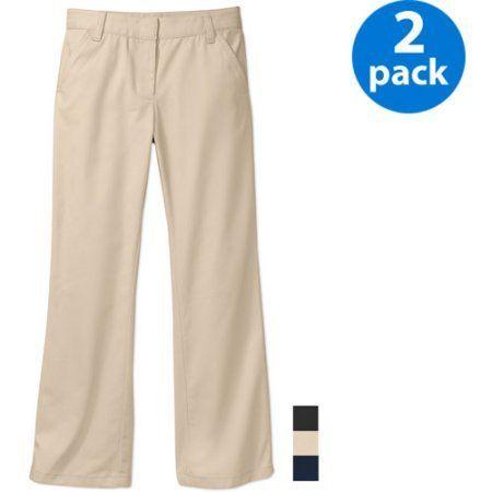 George Girls School Uniforms Flat Front Pants Sizes 4-16 w/Scotchgard, 2-Pack Online Exclusive, Size: 4, Beige