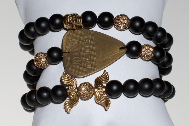 One of my fav accessory pieces. Electric Picks braceletsGuitar Picks, Custom Guitar, Gold Rush, Beads Bracelets, Rocks Stars, Pick Bracelets, Jewelry, Electric Pick, Rush Stacked