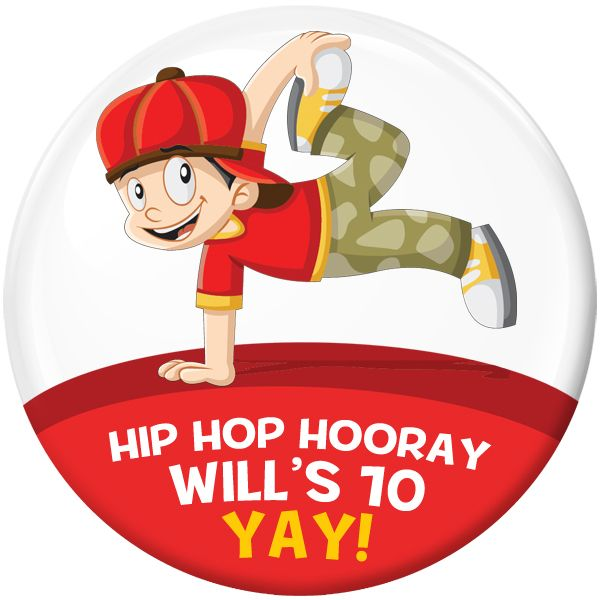 Hip Hop Personalised Birthday Party Badge #493