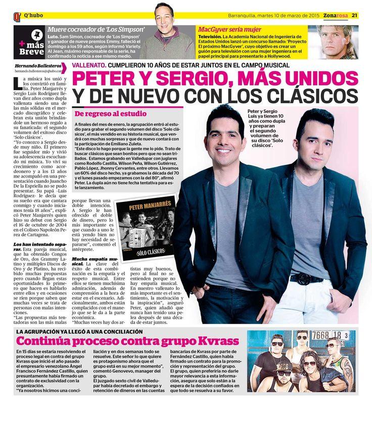 Peter y Sergio, más unidos y de nuevo con los clásicos. Textos: Hernando Ballesteros. Empresa: Q'hubo Barranquilla.
