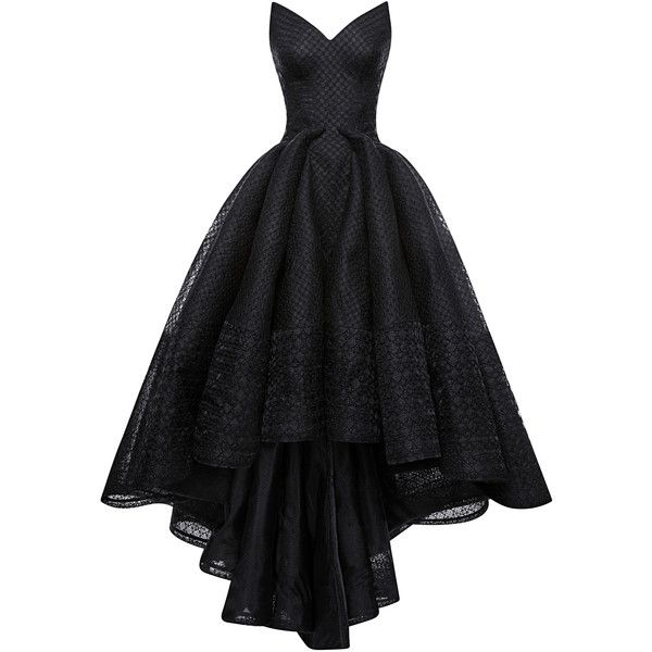 Zac Posen Embroidered Organza Gown found on Polyvore featuring dresses, gowns, bustier gown, organza gown, strapless dress, embroidery dress and zac posen dresses