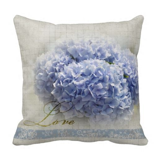 Romantic Blue Hydrangeas Throw Pillows