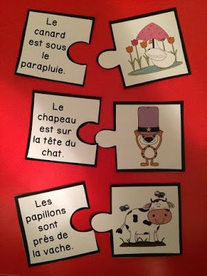 Puzzles - les prépositions. Très utiles pour travailler la compréhension de lecture aussi.