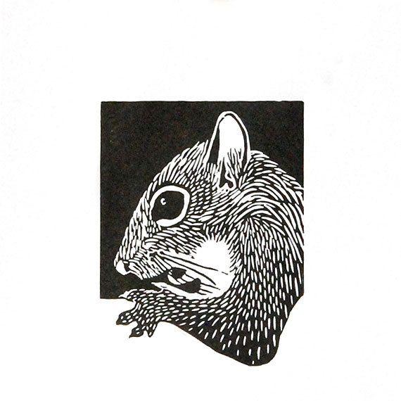 Animaux de linogravure, écureuil, eekhoorn, sticker imprimé, feutrée, prêt à encadrer, impression boisée des animaux à la main