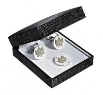 Maple Leaf Cufflink/Pin. These engraved maple leaf cufflinks on a rhodium plated silver background. Size: 19mm round (3/4 inch round) . http://www.stunningselection.com/maple-leaf-cufflink-pin-set