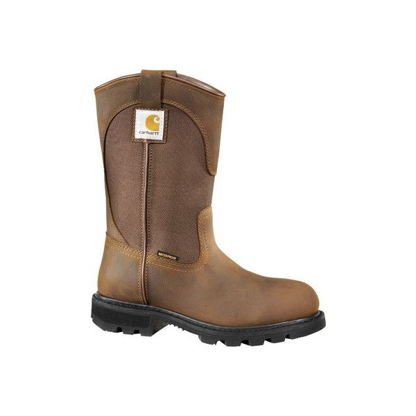 """Women's Carhartt CWP1150 11"""" Wellington ($140) ❤ liked on Polyvore featuring shoes, brown, slip-on shoes, genuine leather shoes, leather shoes, carhartt shoes and waterproof slip on shoes"""