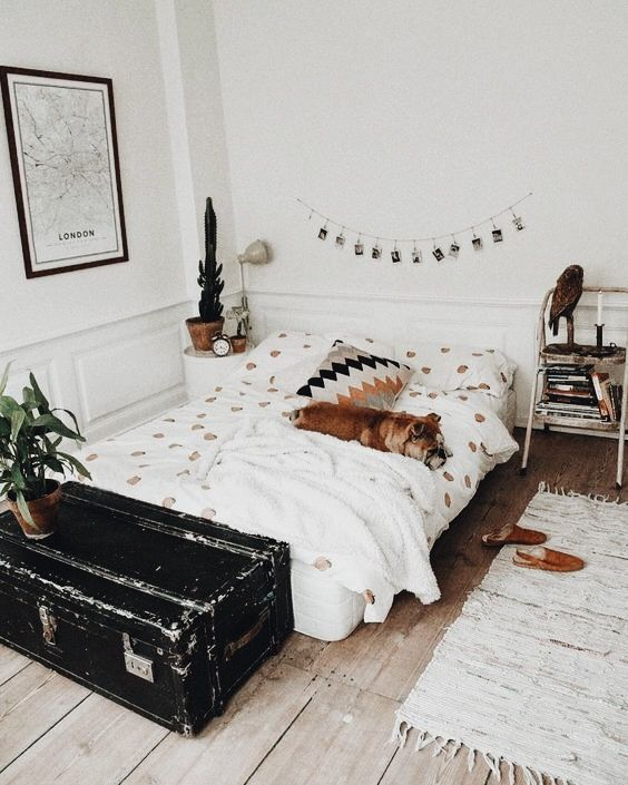 Bedroom - neutrals (white, cream, brown, black) - wood / wood floor / plywood floor - rug - bedding - pallet bed