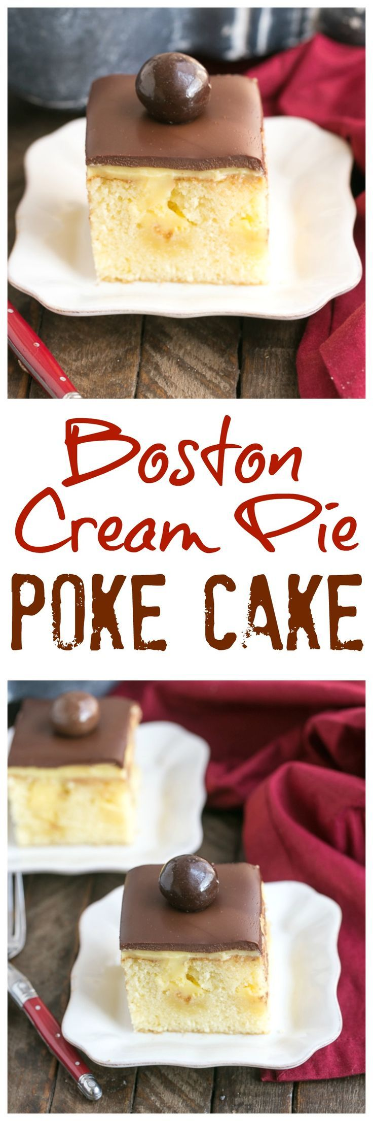 Boston Cream Pie Poke Cake | A moist, buttery cake filled with vanilla pudding and topped with ganache! @lizzydo