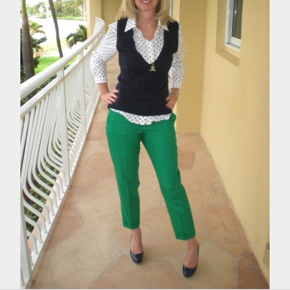 J.Crew Kelly Green Wool Capri Pants Size 6 In excellent condition ...