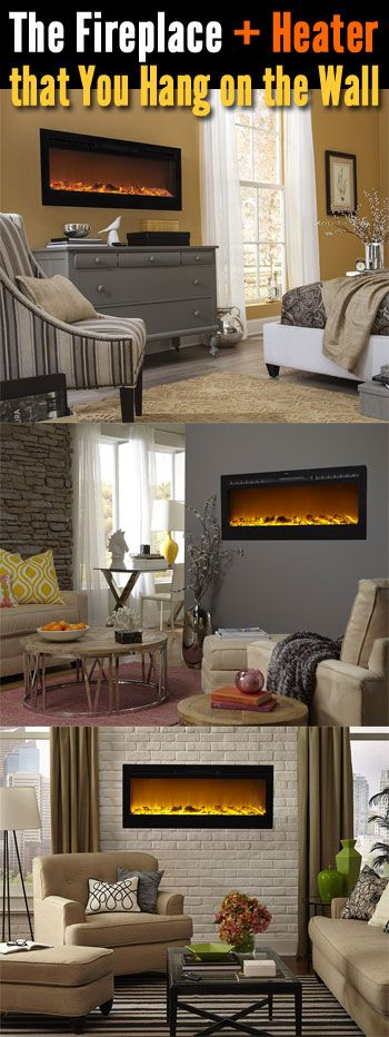 Low-cost, energy saving electric fireplaces (and heaters) that can be hung on a wall, recessed into the wall or inserted into a fireplace hearth.