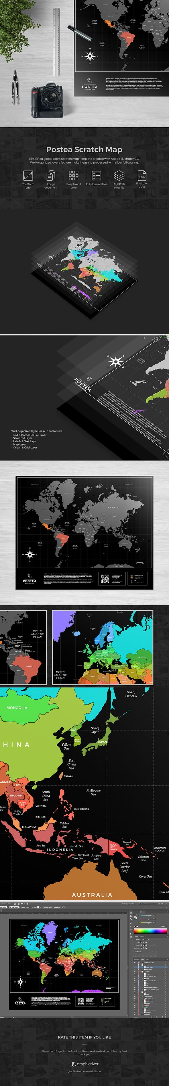 Scratch map in compact mode, Postea—a Conventio's cousin. It's resizable, of course. Out now at GraphicRiver. #adobeillustrator #africa #ai #america #asia #australia #backpacker #coated #envato #europe #eps #foil #freelogo #graphic #graphicriver #illustrator #luxury #map #marketplace #mercator #print #publisher