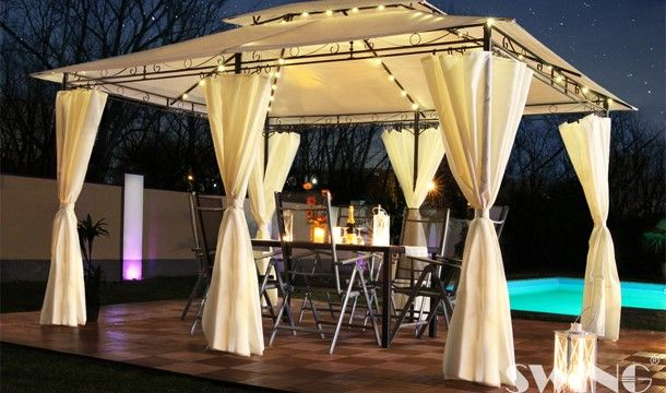 Minzo Swing Harmonie Led Pavilions Gazebo Corner Garden Furniture Garden Canopy