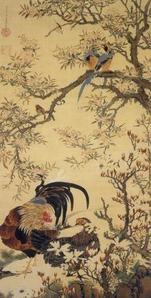 伊藤若冲 花卉双鶏図 1753年~1754年頃