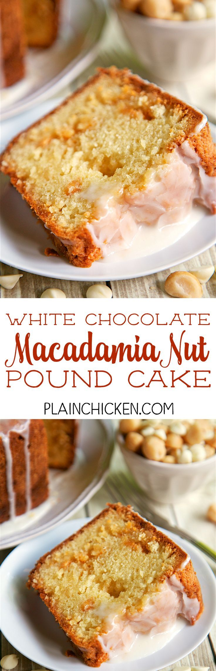 White Chocolate Macadamia Nut Pound Cake - DELICIOUS! An easy from scratch pound cake. Flour, sugar, butter, eggs, vanilla, white chocolate pudding, macadamia nuts, pineapple juice. Cake is drizzled with a quick pineapple glaze. This is CRAZY good!!! This didn't last long in our house! Great for a potluck or homemade gift.