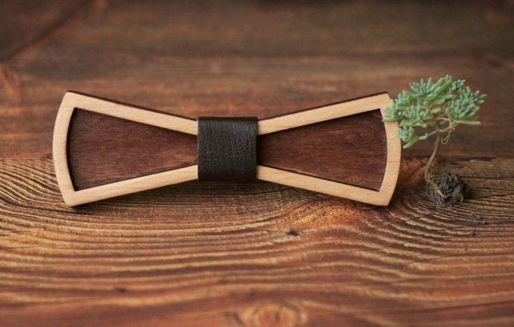 3D Wooden Bow Tie with brown leather. Standard Size for men or Small Size for…