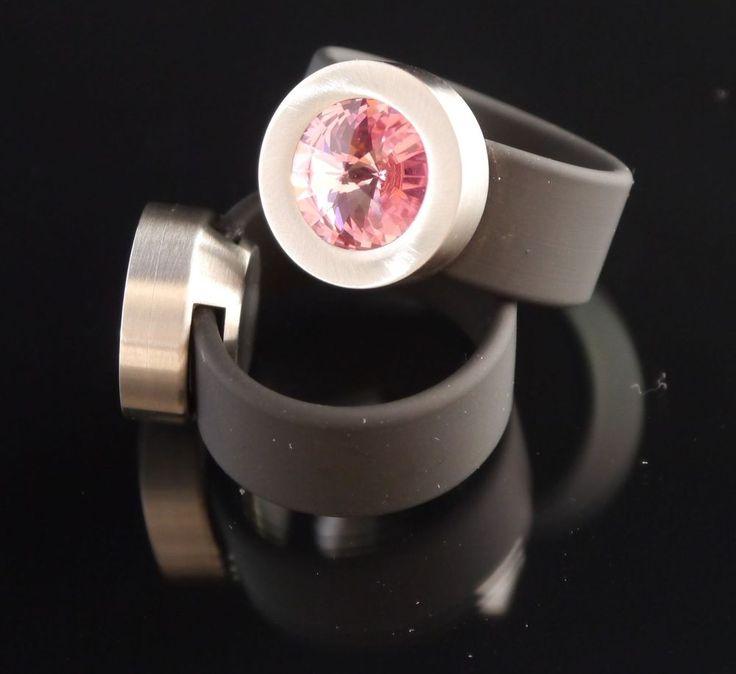 Silikon - Ring + Edelstahlkopf silber + SWAROVSKI ELEMENTS Fb. Light Rose-$29.95-(ring-rings )