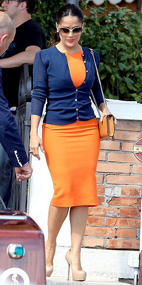 have curves? flaunt them by wearing this super tight orange (the blue cardigan is going perfectly with it !