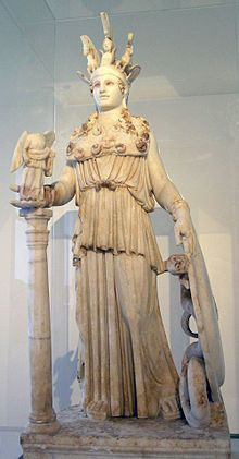 A Roman period, 2nd century CE sculpture found near the Varvakeion school reflects the type of the restored Athena Parthenos presently in the National Archaeological Museum, Athens