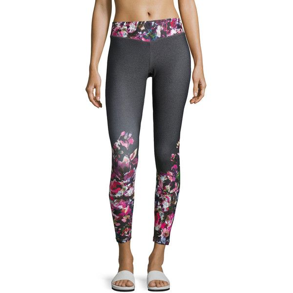Charlie Jade Floral-Print Performance Leggings ($53) ❤ liked on Polyvore featuring activewear, activewear pants, gray pattern and charlie jade