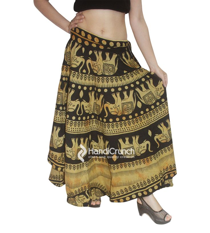 Black and yellow color elephant printed rapron skirt