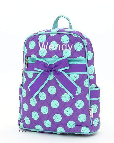 Adorable Personalized Kids Backpacks in Purple Polka Dots by PoshyKids, $28.00