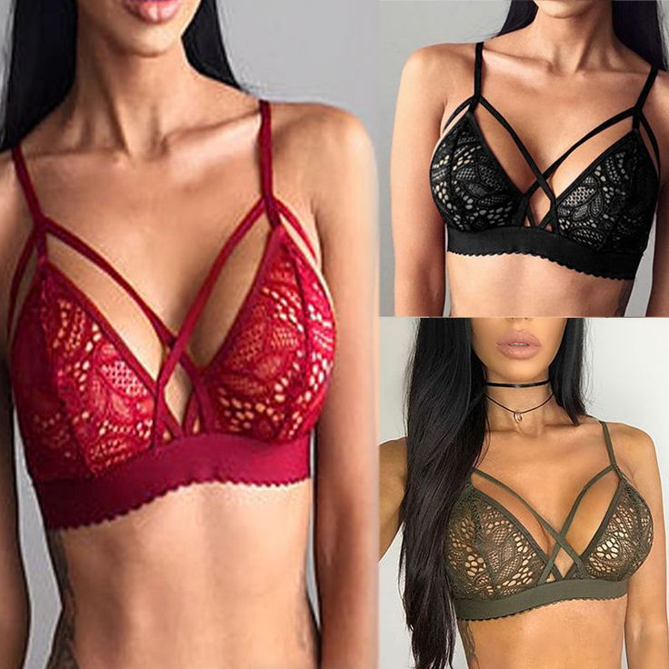 Women Floral Sheer Lace Triangle Bralette Bralet Unpadded Bra  Click to buy it now