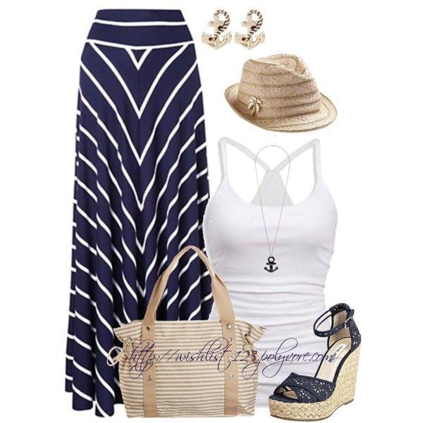 Navy Stripe Maxi Skirt:)