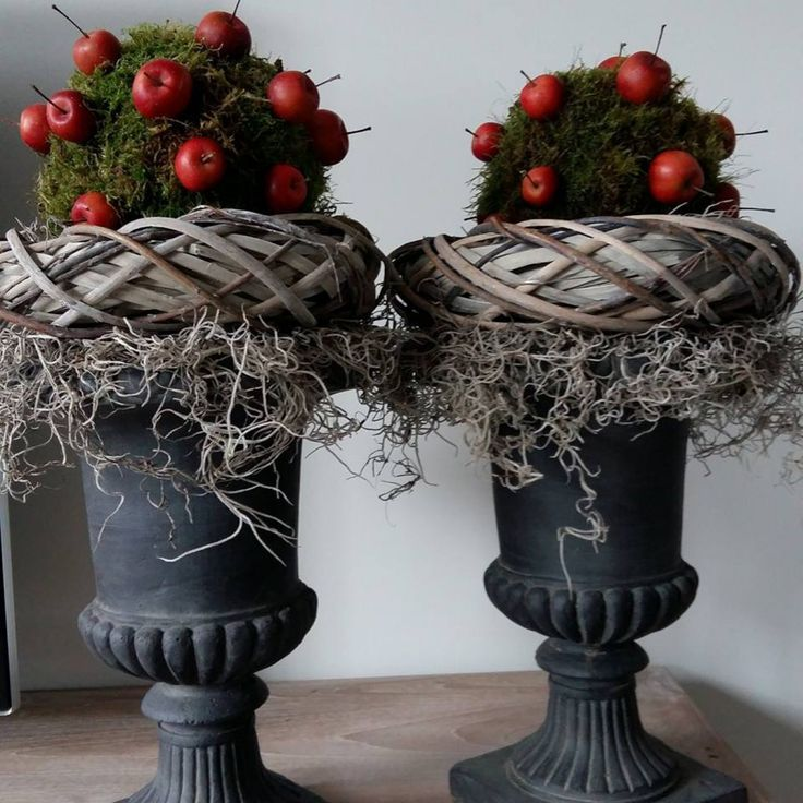 Piepschuim ballen van Action bekleden met plaatmos. Vastzetten met krammen. Appeltjes vastzetten met cocktailprikkers. Kransen zijn ook van Action. Wat tillandsia mos op de vaas leggen, daarop de kransen. Dan de de ballen met mos en klaar is je kerstdecoratie. Kan ook in de herfst. Met kerst kun je wat lichtjes rondom de krans leggen.